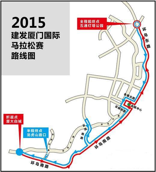 2015厦门马拉松路线图