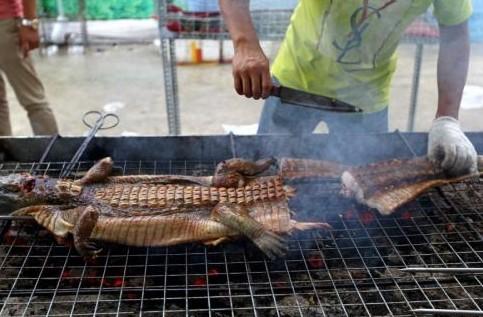 """广西南宁美食节现""""生烤鳄鱼""""【组图】"""