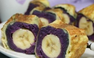 紫薯香蕉卷_紫薯香蕉卷的做法_紫薯香蕉卷怎么做好吃