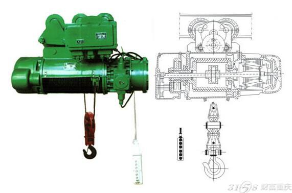 电动葫芦结构示意图_防爆电动葫芦电机的选用-3158重庆分站