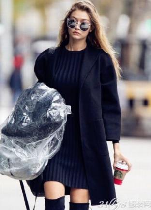 韩国胖女生穿衣搭配 H型大衣好搭配