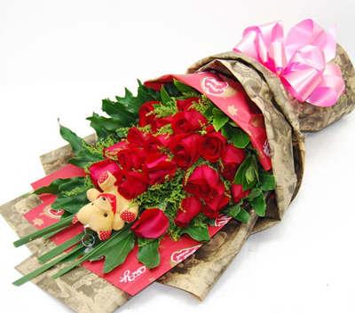 中礼鲜花速递全国 19枝红玫瑰花束 北京鲜花店 深圳鲜花高档包装