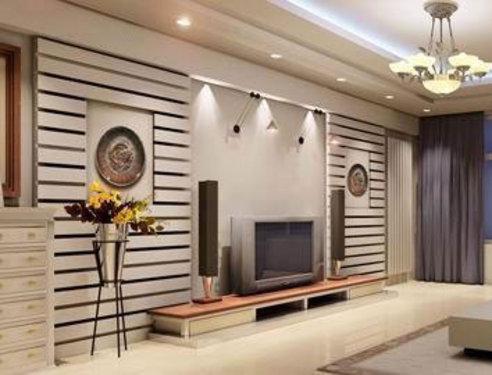 屏风式电视背景墙:由木板条组成的栅栏屏风组成的