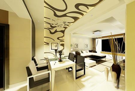简洁的图案又不失时尚风格,白色的长方形餐桌与空间搭配一致.图片