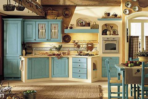 地中海风格是近几年才流行起来的,橱柜款式有些接近田园或欧式,厨房图片