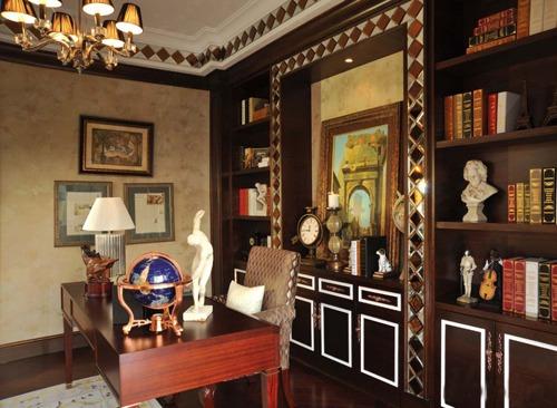 效果图  传统中式书房古韵充满了房间大大小小的角落,荷花台灯,博古架