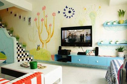 背景墙设计搭配效果图二:从窗口一直延伸到楼梯的一整面电视背景墙