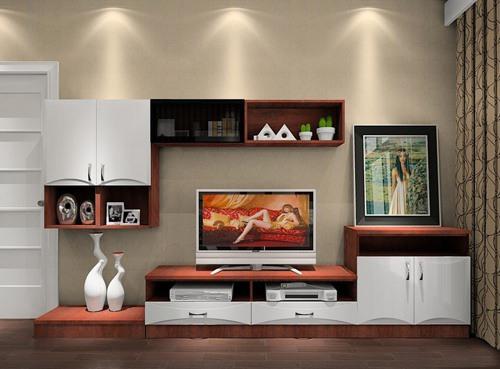 电视柜的高度 对应沙发 低于墙面插座 电视机不仅可摆在电视柜上,还图片