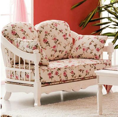 清凉家具推荐三:田园风白色实木沙发