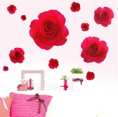 这套玫瑰花壁纸像真花一样,立体感超强.白色打底,朵朵红玫瑰明艳照人!