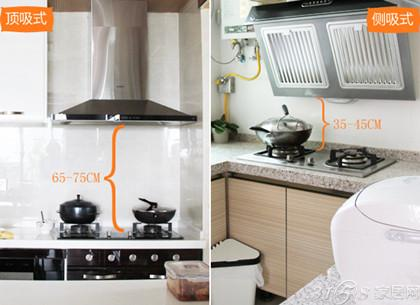 安装 知识 顶吸式油烟机考虑到操作方便性与吸烟效果