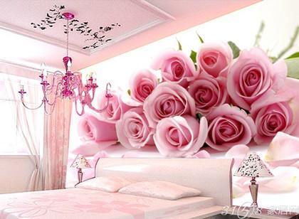婚房温馨浪漫玫瑰花卧室床头沙发电视机背景墙墙纸壁