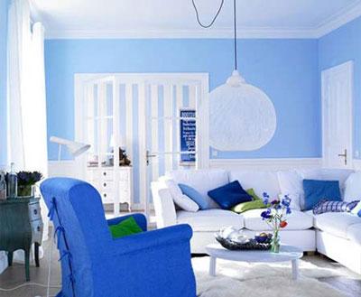 蓝色欧式客厅吊顶