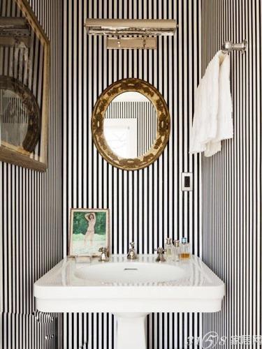黑白条纹壁纸装修效果图 打造极简主义风