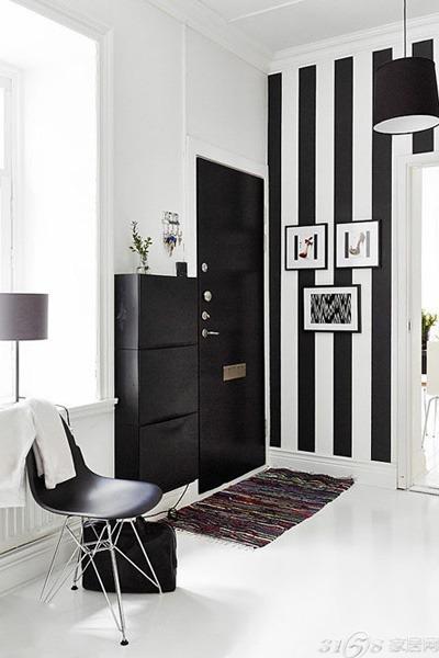 黑白条纹壁纸装修效果图