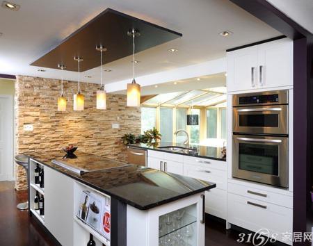时尚别致的厨房吧台装修效果图
