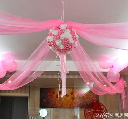 最全婚房拉花 结婚婚车装饰布景道具时尚纱幔装饰纱婚房布置高清图片