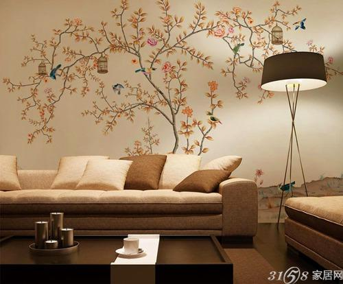 彩绘沙发背景墙 diy个性墙面装饰图片