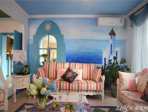 彩绘沙发背景墙 diy个性墙面装饰