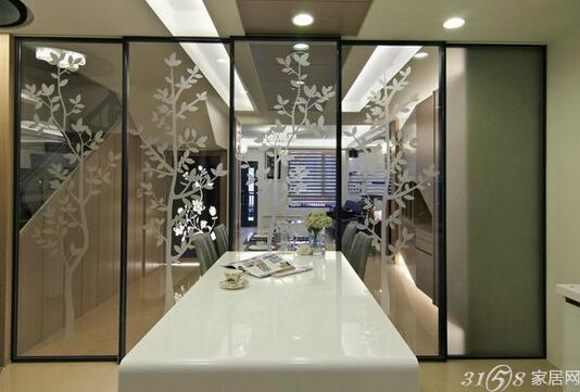 玻璃屏风隔断效果图 搭配出不同的室内风格