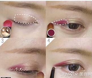 单眼皮桃花眼妆