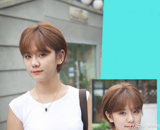 圆脸齐耳短发韩式发型内容|圆脸齐耳短发韩式发型版面设计图片