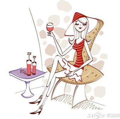 女人喝红酒图片手绘