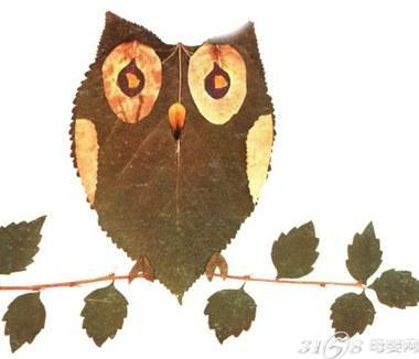 教孩子用树叶做贴画
