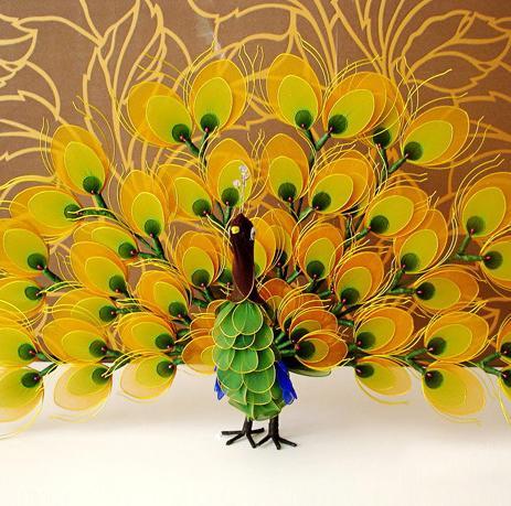 树叶贴画手工图片_绘画分享