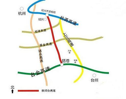 杭绍台高速起于钱江通道南接线齐贤枢纽,经绍兴,金华,台州三个地市,终